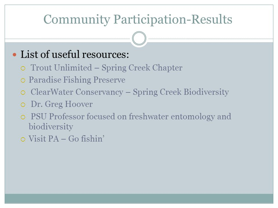 Community Participation-Results List of useful resources: Trout Unlimited – Spring Creek Chapter Paradise Fishing Preserve ClearWater Conservancy – Spring Creek Biodiversity Dr.