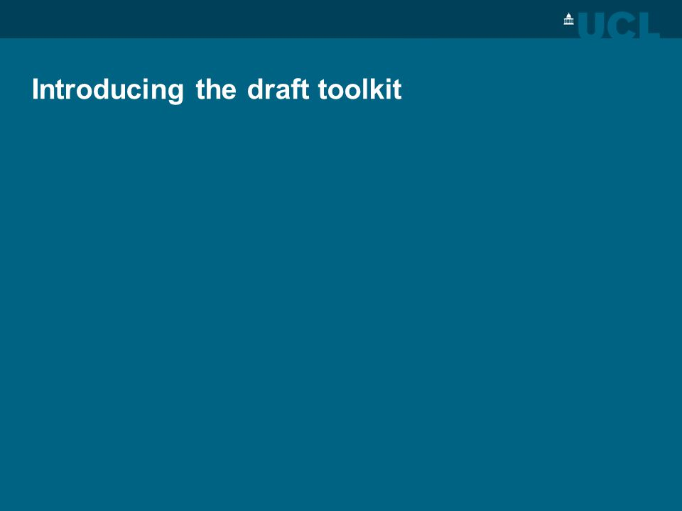 Introducing the draft toolkit