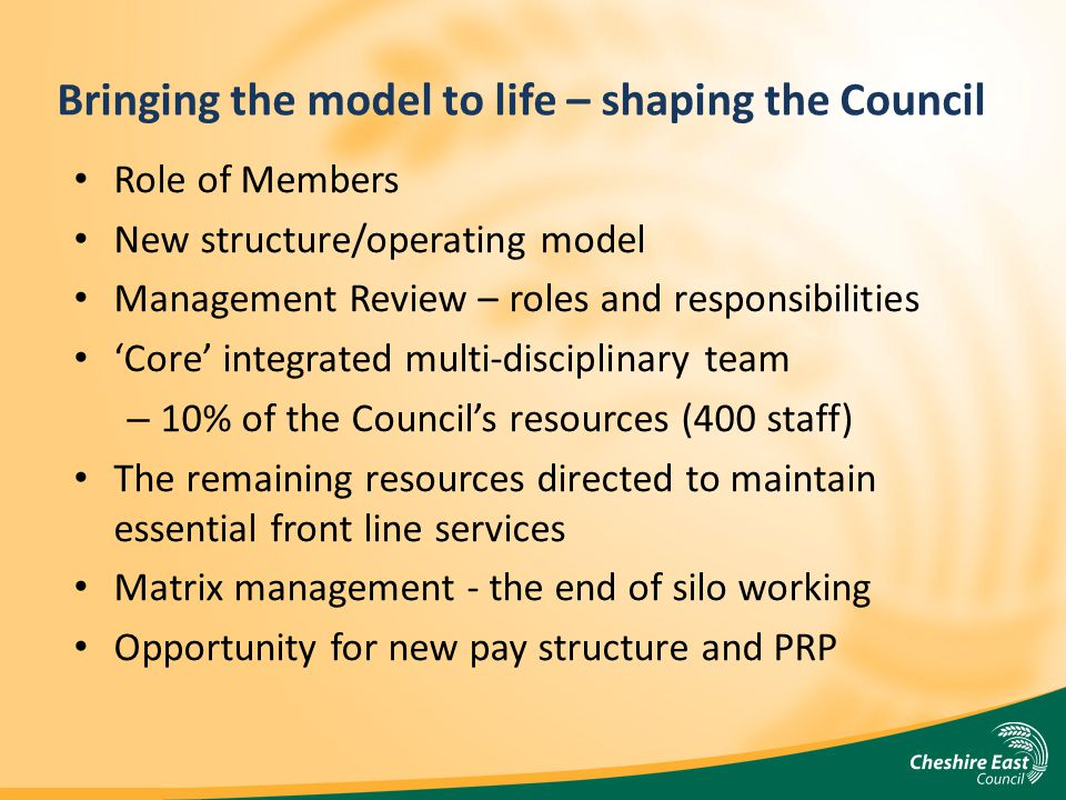 Bringing the model to life – shaping the Council Role of Members New structure/operating model Management Review – roles and responsibilities Core int