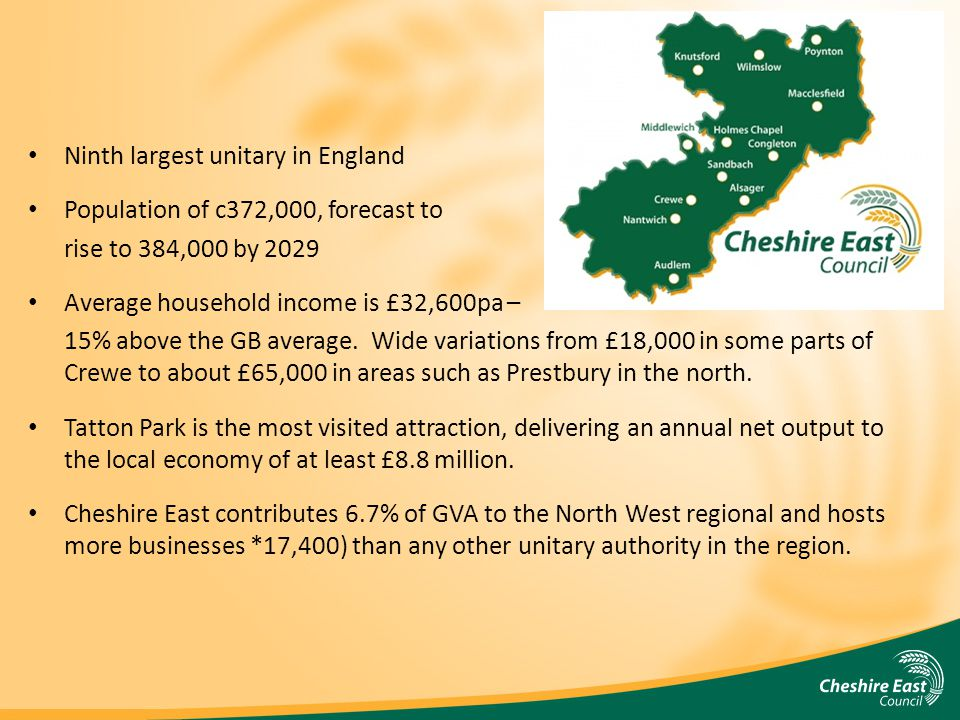 Ninth largest unitary in England Population of c372,000, forecast to rise to 384,000 by 2029 Average household income is £32,600pa – 15% above the GB