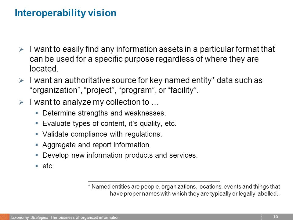 10 Taxonomy Strategies The business of organized information Interoperability vision I want to easily find any information assets in a particular form