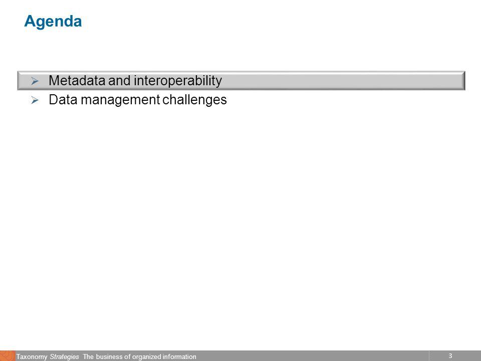 3 Taxonomy Strategies The business of organized information Agenda Metadata and interoperability Data management challenges