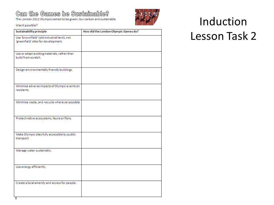 Induction Lesson Task 2