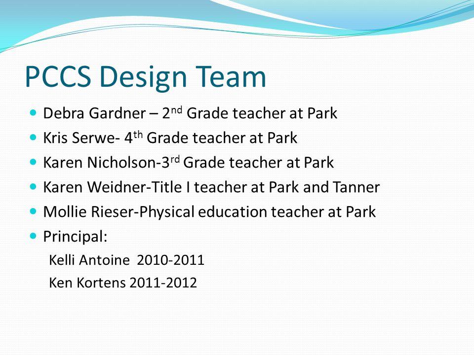 PCCS Design Team Debra Gardner – 2 nd Grade teacher at Park Kris Serwe- 4 th Grade teacher at Park Karen Nicholson-3 rd Grade teacher at Park Karen We