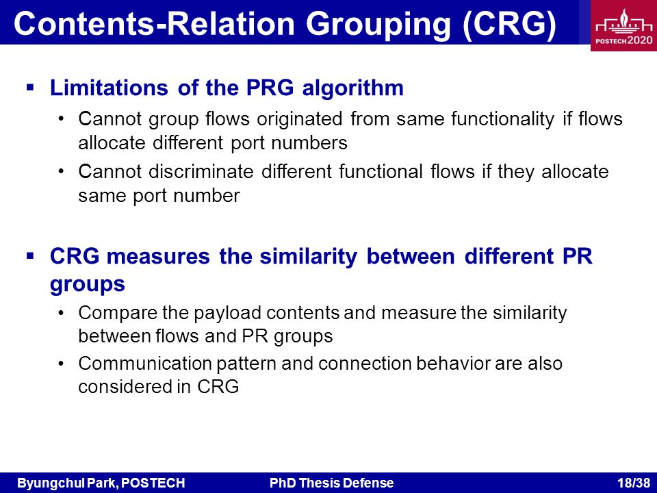 Byungchul Park, POSTECHPhD Thesis Defense 18/38 Example of connection patterns Connection behavior of a P2P host Contents-Relation Grouping (CRG) Limitations of the PRG algorithm Cannot group flows originated from same functionality if flows allocate different port numbers Cannot discriminate different functional flows if they allocate same port number CRG measures the similarity between different PR groups Compare the payload contents and measure the similarity between flows and PR groups Communication pattern and connection behavior are also considered in CRG