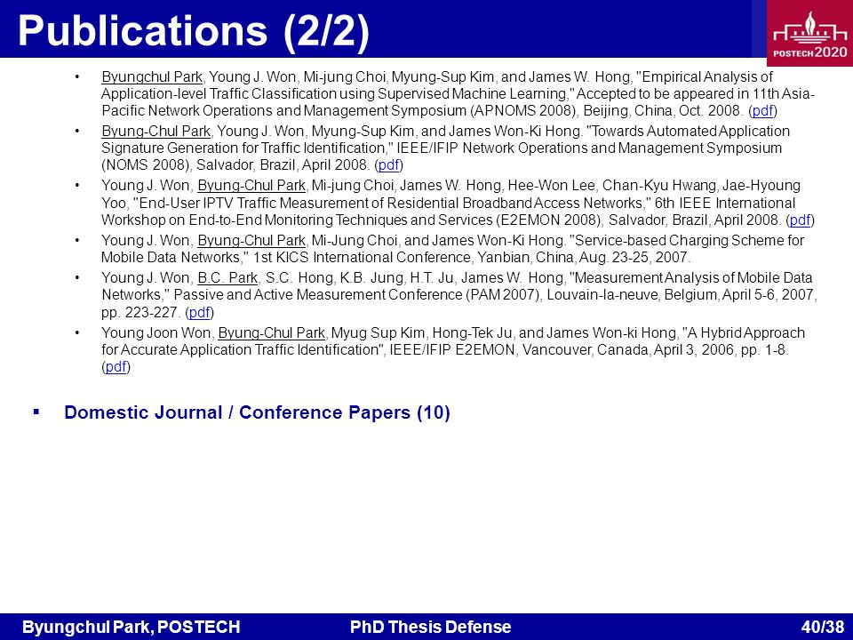Byungchul Park, POSTECHPhD Thesis Defense 40/38 Publications (2/2) Byungchul Park, Young J.