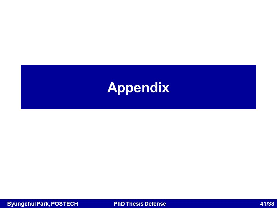 Byungchul Park, POSTECHPhD Thesis Defense 41/38 Appendix