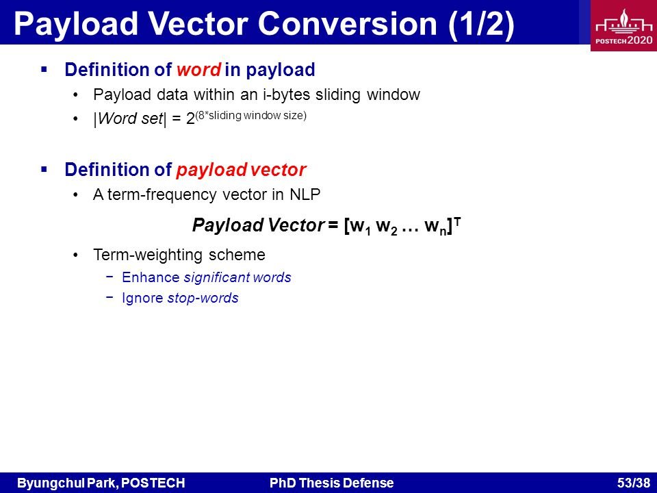 Byungchul Park, POSTECHPhD Thesis Defense 53/38 Payload Vector Conversion (1/2) Definition of word in payload Payload data within an i-bytes sliding window |Word set| = 2 (8*sliding window size) Definition of payload vector A term-frequency vector in NLP Term-weighting scheme Enhance significant words Ignore stop-words Payload Vector = [w 1 w 2 … w n ] T
