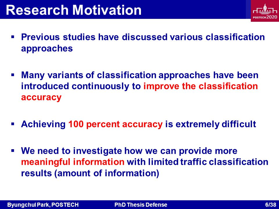 Byungchul Park, POSTECHPhD Thesis Defense 6/38 Research Motivation Previous studies have discussed various classification approaches Many variants of classification approaches have been introduced continuously to improve the classification accuracy Achieving 100 percent accuracy is extremely difficult We need to investigate how we can provide more meaningful information with limited traffic classification results (amount of information)