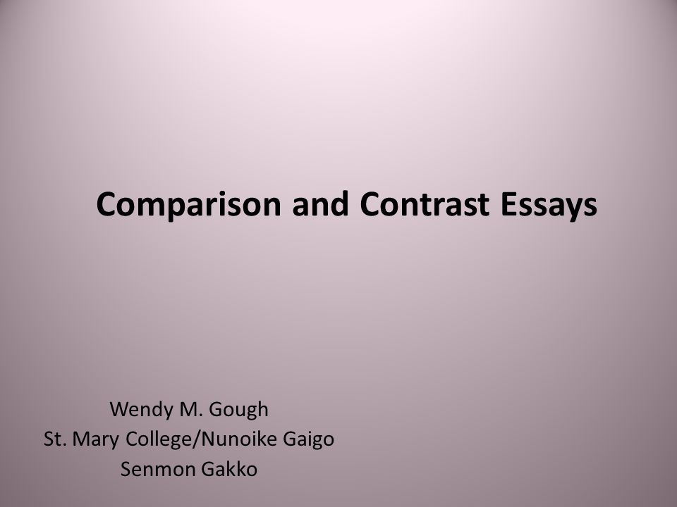 Comparison/Contrast Essay Organization Like other types of essays, a comparison and contrast essay must have a clear introduction, body, and conclusion.