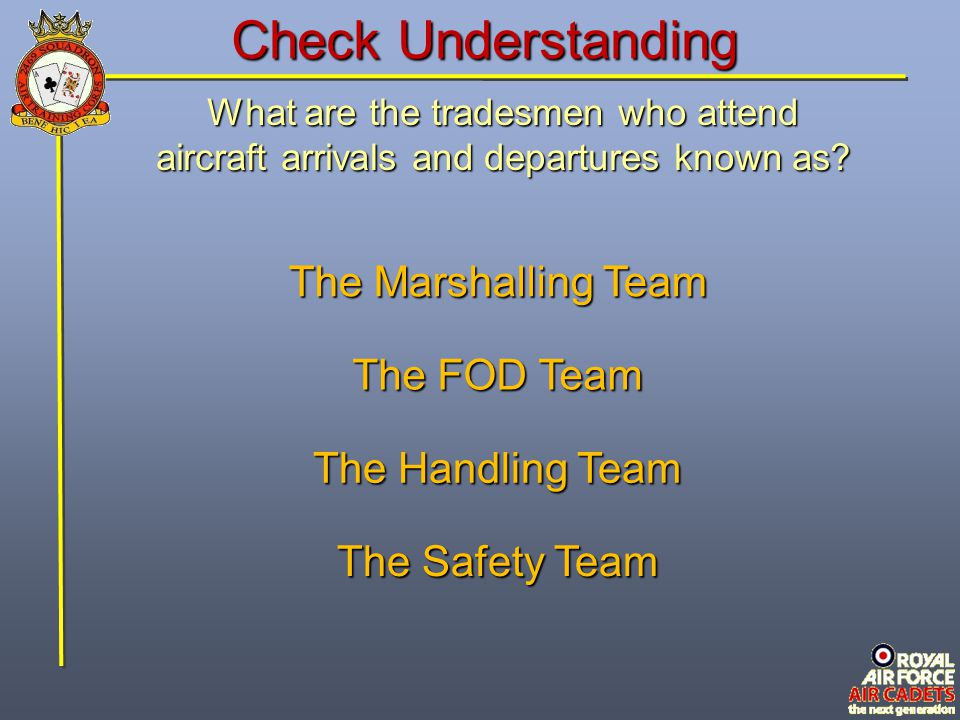 Check Understanding What is the person who assists the pilot in the safe manoeuvring of the aircraft called.