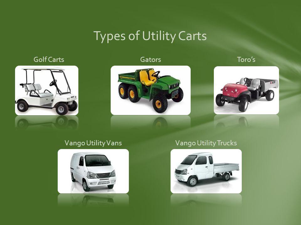 Types of Utility Carts Golf CartsGatorsToros Vango Utility VansVango Utility Trucks