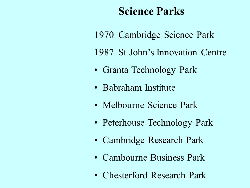 Science Parks 1970 Cambridge Science Park 1987 St Johns Innovation Centre Granta Technology Park Babraham Institute Melbourne Science Park Peterhouse Technology Park Cambridge Research Park Cambourne Business Park Chesterford Research Park