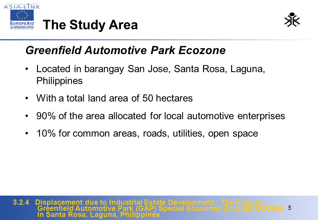 3.2.4 Displacement due to Industrial Estate Development : The Case of Greenfield Automotive Park (GAP) Special Economic Zone (ECOZONE) in Santa Rosa, Laguna, Philippines 5 Greenfield Automotive Park Ecozone Located in barangay San Jose, Santa Rosa, Laguna, Philippines With a total land area of 50 hectares 90% of the area allocated for local automotive enterprises 10% for common areas, roads, utilities, open space The Study Area