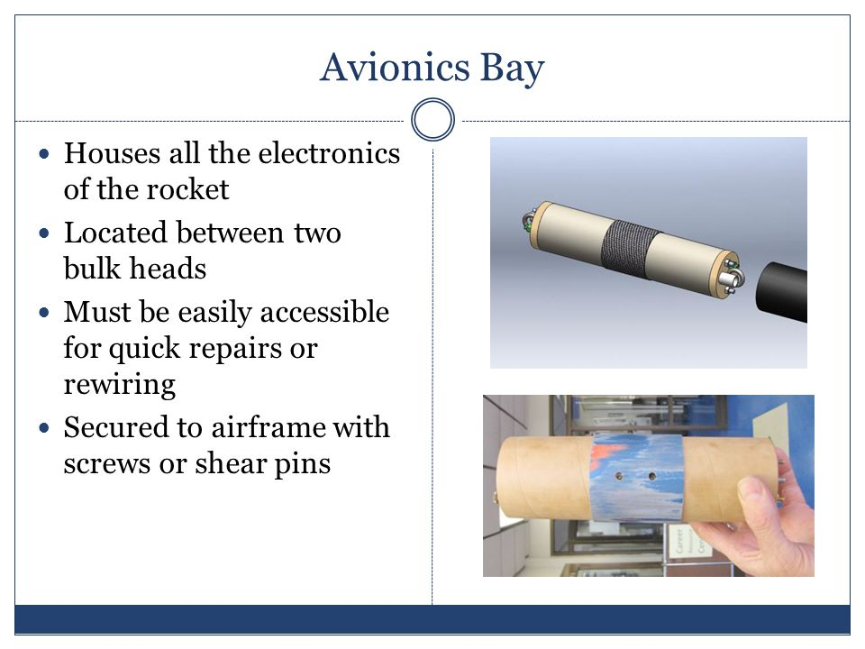Avionics Bay Houses all the electronics of the rocket Located between two bulk heads Must be easily accessible for quick repairs or rewiring Secured to airframe with screws or shear pins
