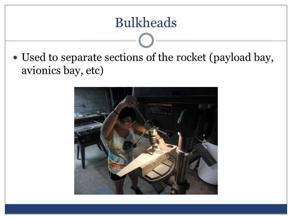 Bulkheads Used to separate sections of the rocket (payload bay, avionics bay, etc)