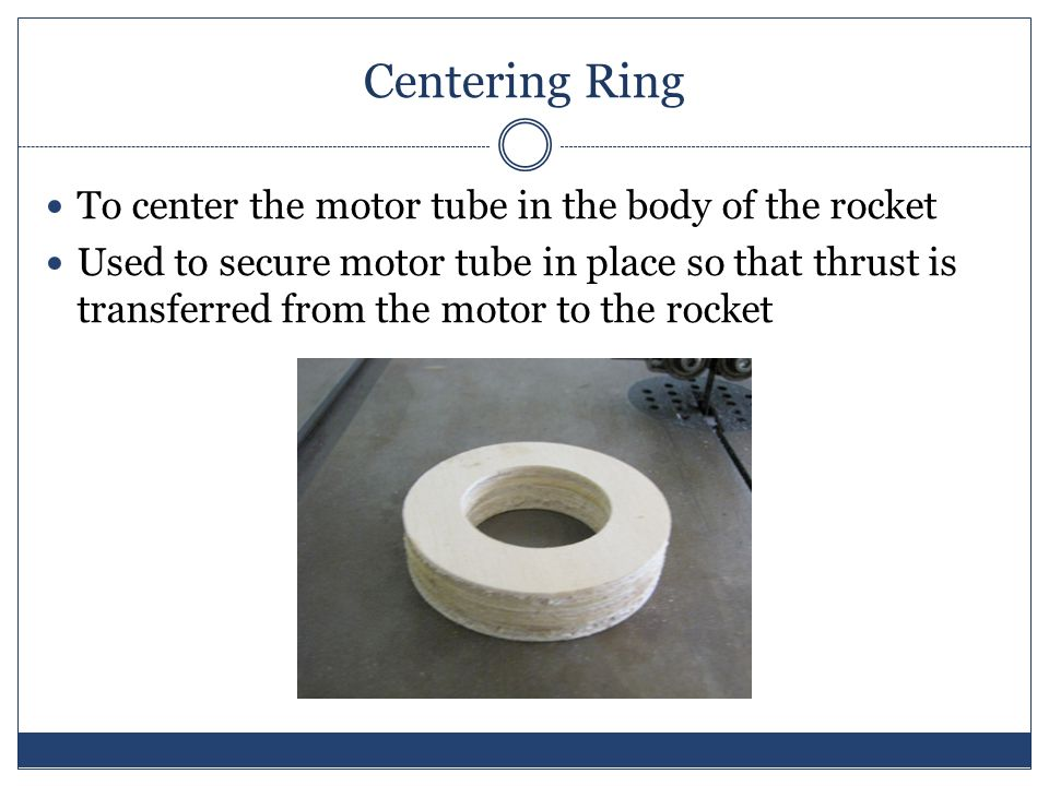 Centering Ring To center the motor tube in the body of the rocket Used to secure motor tube in place so that thrust is transferred from the motor to the rocket