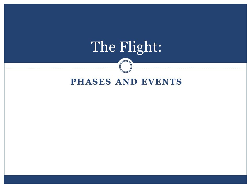The Flight: PHASES AND EVENTS