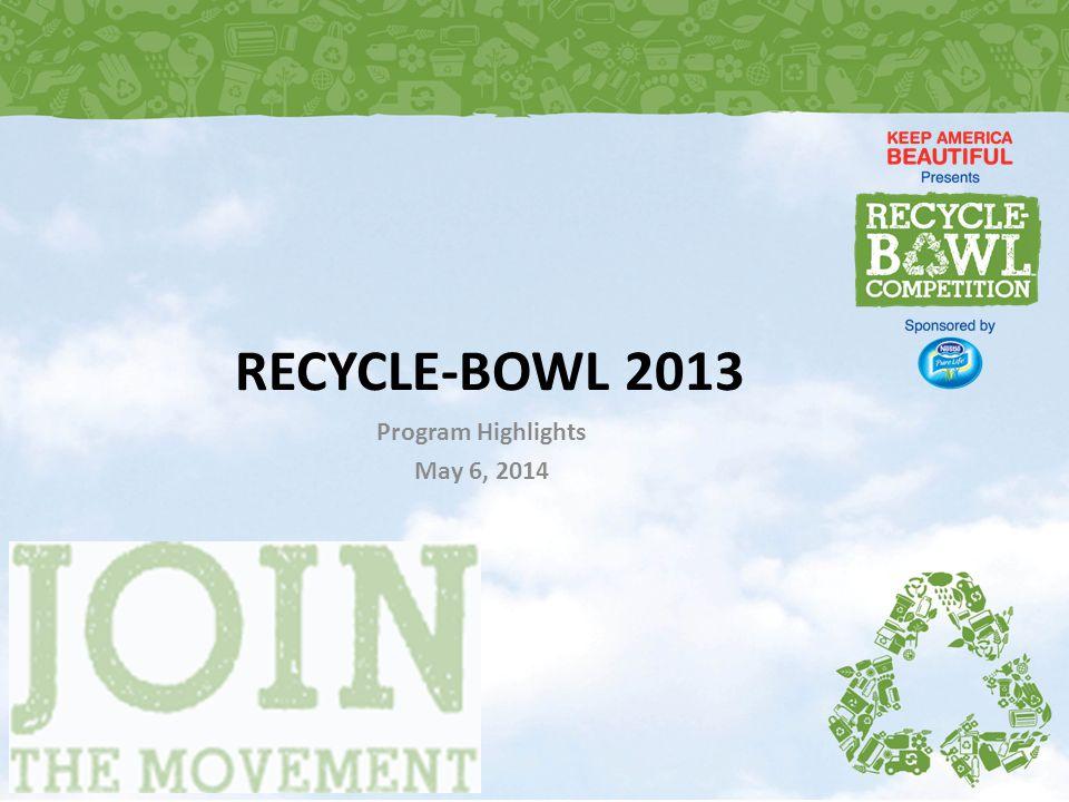 RECYCLE-BOWL 2013 Program Highlights May 6, 2014