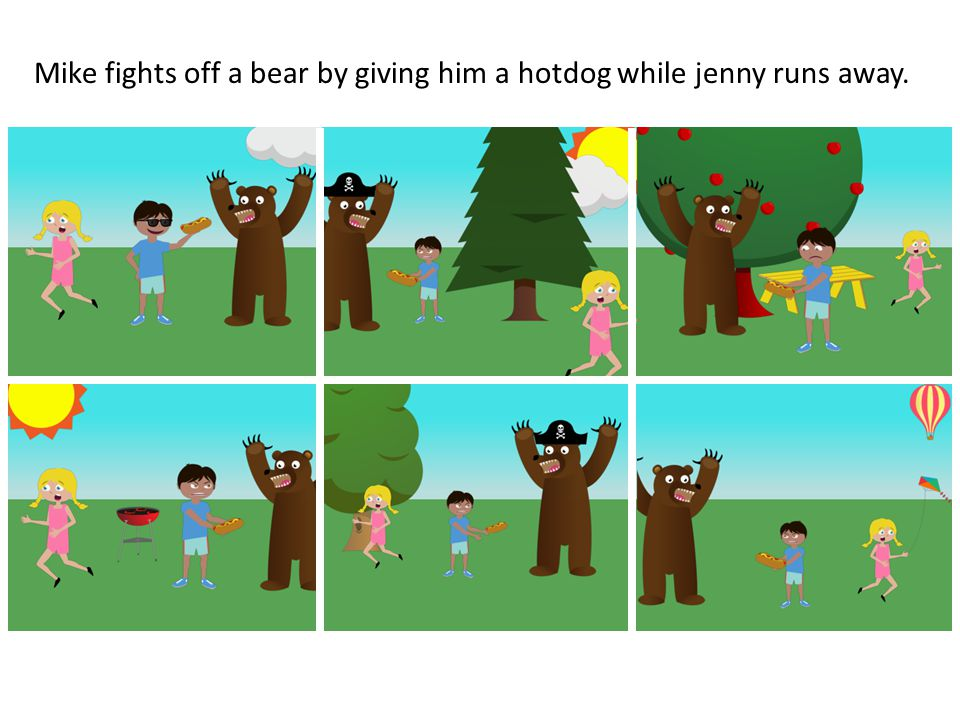 Mike fights off a bear by giving him a hotdog while jenny runs away.