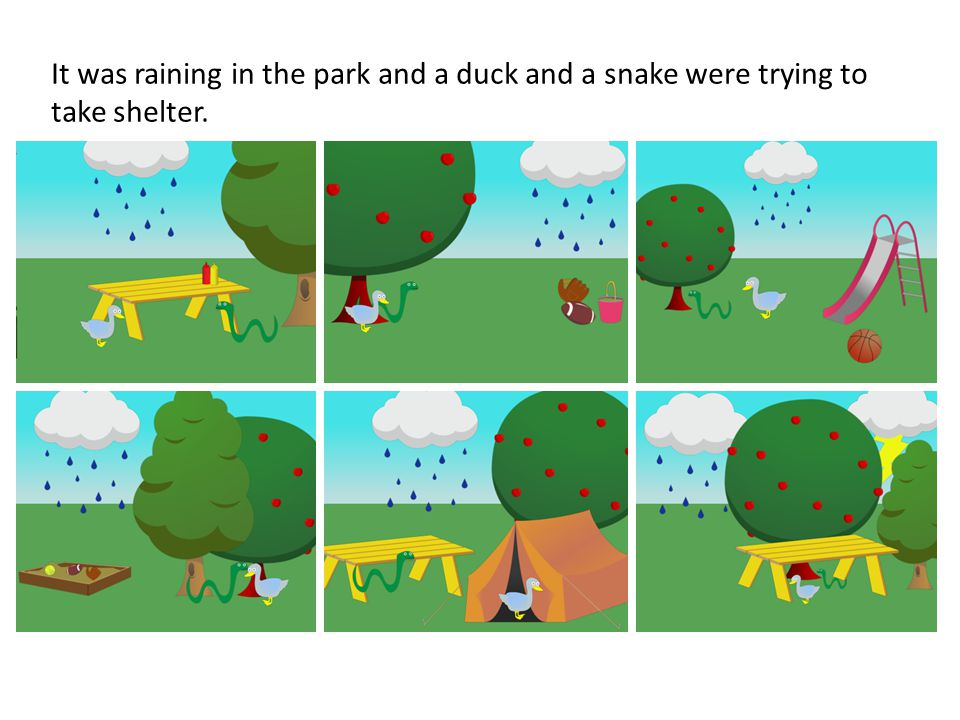It was raining in the park and a duck and a snake were trying to take shelter.