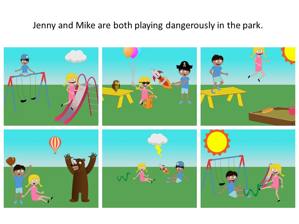 Jenny and Mike are both playing dangerously in the park.