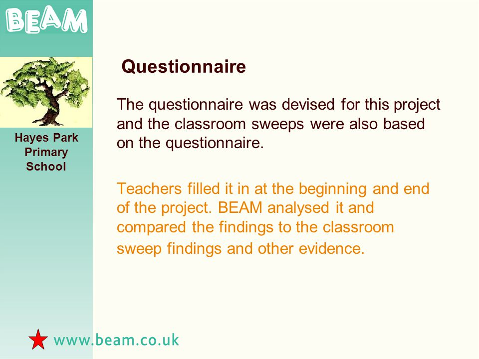 Questionnaire The questionnaire was devised for this project and the classroom sweeps were also based on the questionnaire.