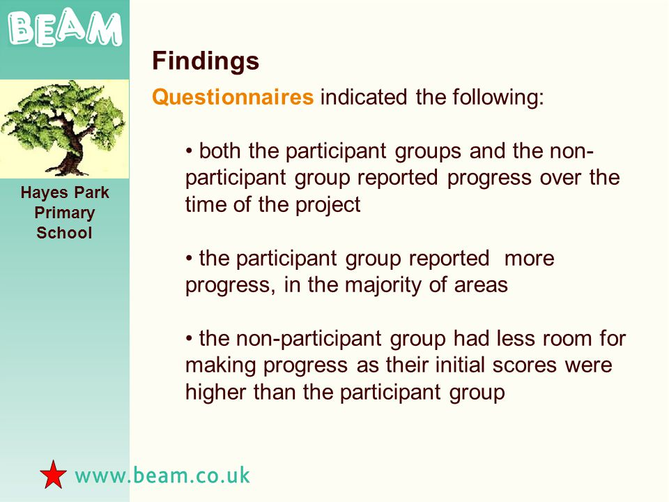 Hayes Park Primary School Findings Questionnaires indicated the following: both the participant groups and the non- participant group reported progress over the time of the project the participant group reported more progress, in the majority of areas the non-participant group had less room for making progress as their initial scores were higher than the participant group