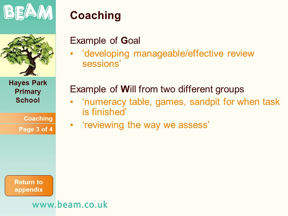Coaching Example of Goal developing manageable/effective review sessions Example of Will from two different groups numeracy table, games, sandpit for