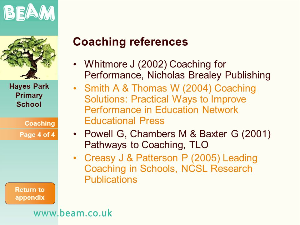 Hayes Park Primary School Coaching references Whitmore J (2002) Coaching for Performance, Nicholas Brealey Publishing Smith A & Thomas W (2004) Coaching Solutions: Practical Ways to Improve Performance in Education Network Educational Press Powell G, Chambers M & Baxter G (2001) Pathways to Coaching, TLO Creasy J & Patterson P (2005) Leading Coaching in Schools, NCSL Research Publications Coaching Page 4 of 4 Return to appendix