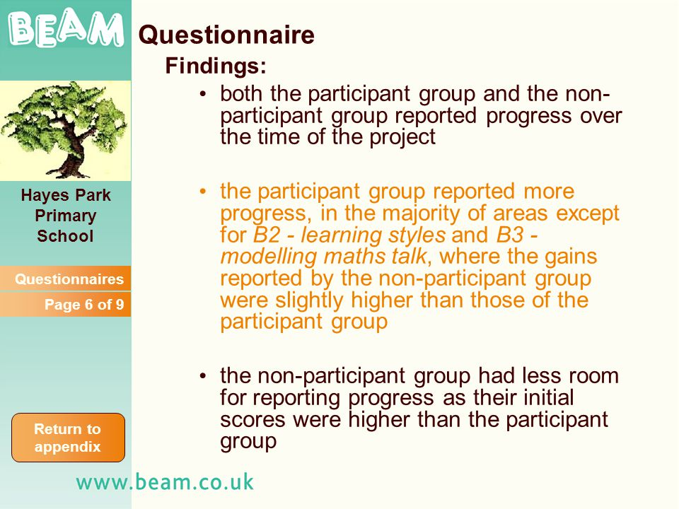 Findings: both the participant group and the non- participant group reported progress over the time of the project the participant group reported more progress, in the majority of areas except for B2 - learning styles and B3 - modelling maths talk, where the gains reported by the non-participant group were slightly higher than those of the participant group the non-participant group had less room for reporting progress as their initial scores were higher than the participant group Hayes Park Primary School Return to appendix Questionnaires Page 6 of 9 Questionnaire