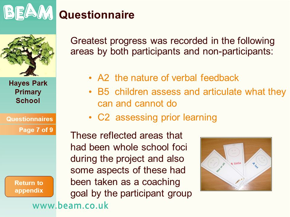 Greatest progress was recorded in the following areas by both participants and non-participants: A2 the nature of verbal feedback B5 children assess a