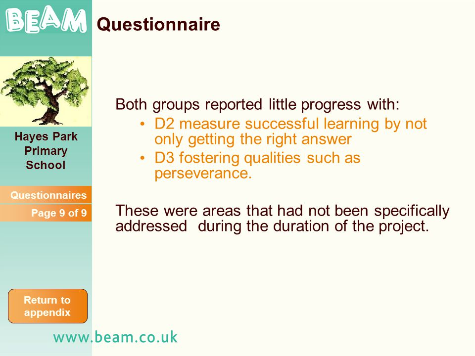Both groups reported little progress with: D2 measure successful learning by not only getting the right answer D3 fostering qualities such as perseverance.