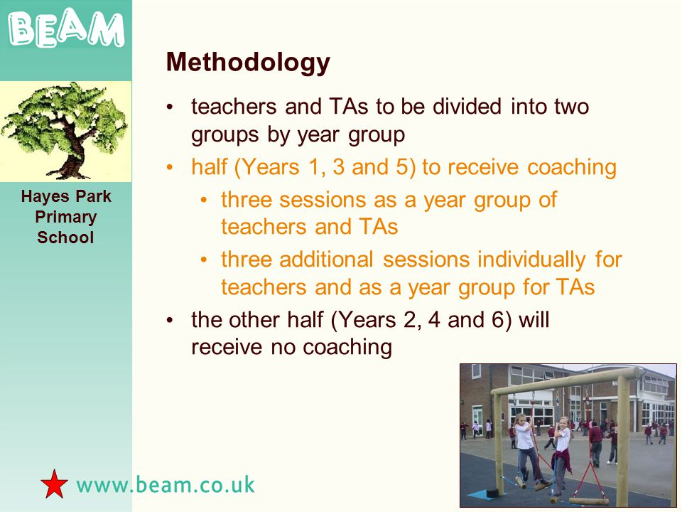 Methodology teachers and TAs to be divided into two groups by year group half (Years 1, 3 and 5) to receive coaching three sessions as a year group of teachers and TAs three additional sessions individually for teachers and as a year group for TAs the other half (Years 2, 4 and 6) will receive no coaching Hayes Park Primary School