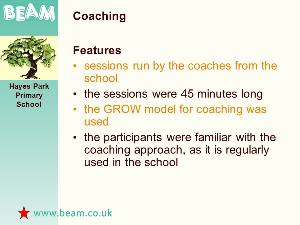 Coaching Features sessions run by the coaches from the school the sessions were 45 minutes long the GROW model for coaching was used the participants were familiar with the coaching approach, as it is regularly used in the school Hayes Park Primary School