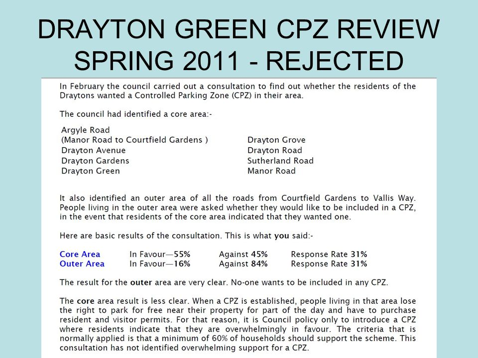 DRAYTON GREEN CPZ REVIEW SPRING 2011 - REJECTED