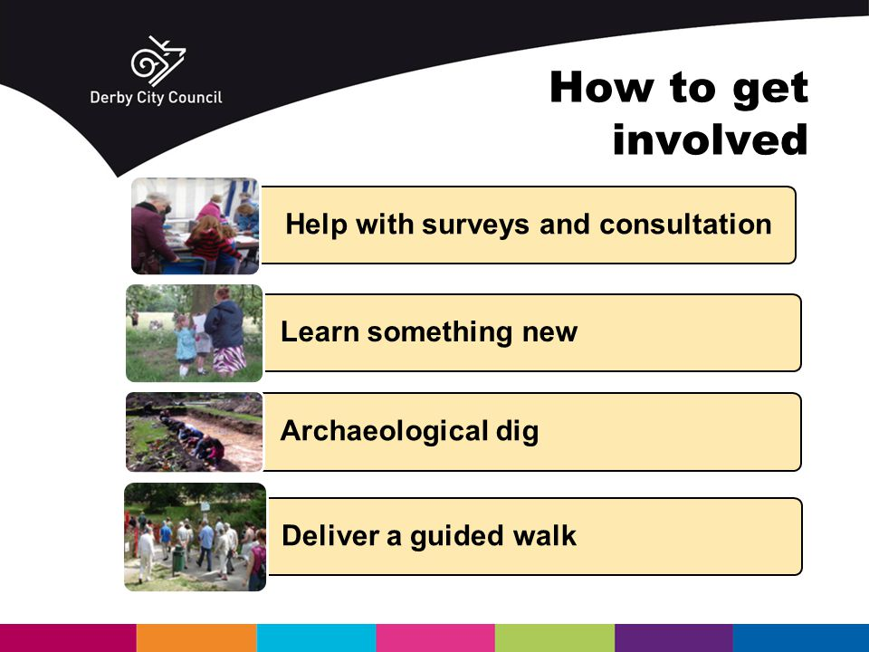Help with surveys and consultation Learn something new Archaeological dig Deliver a guided walk