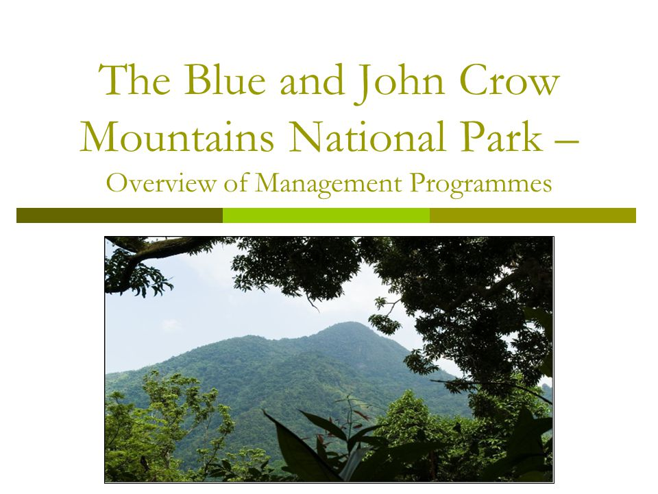 The Blue and John Crow Mountains National Park – Overview of Management Programmes