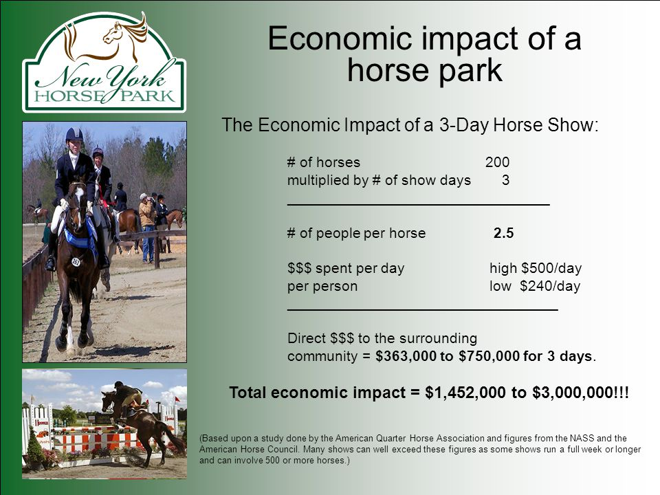 Economic impact of a horse park The Economic Impact of a 3-Day Horse Show: # of horses200 multiplied by # of show days 3 ________________________________ # of people per horse 2.5 $$$ spent per day high $500/day per person low $240/day _________________________________ Direct $$$ to the surrounding community = $363,000 to $750,000 for 3 days.