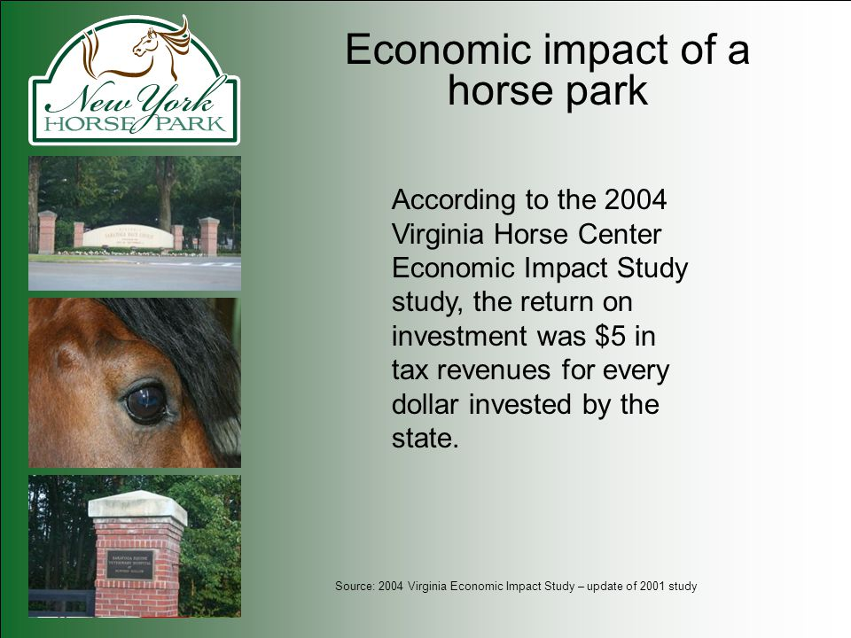 Economic impact of a horse park According to the 2004 Virginia Horse Center Economic Impact Study study, the return on investment was $5 in tax revenues for every dollar invested by the state.