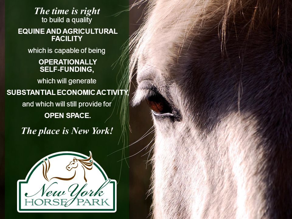 The time is right to build a quality EQUINE AND AGRICULTURAL FACILITY which is capable of being OPERATIONALLY SELF-FUNDING, which will generate SUBSTA