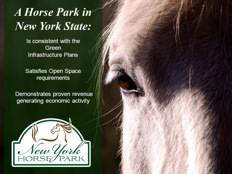 A Horse Park in New York State: Is consistent with the Green Infrastructure Plans Satisfies Open Space requirements Demonstrates proven revenue genera