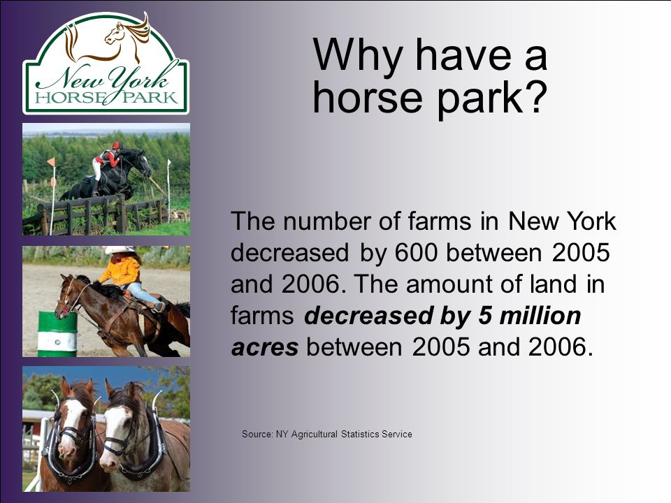 Why have a horse park.The equine industry supports pasture, hay and feed production businesses.