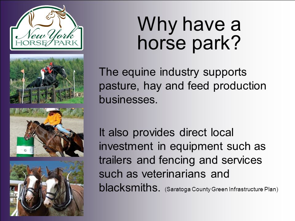Why have a horse park. The equine industry supports pasture, hay and feed production businesses.