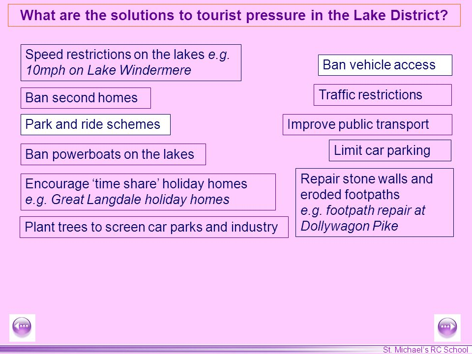 St. Michaels RC School What are the solutions to tourist pressure in the Lake District? Speed restrictions on the lakes e.g. 10mph on Lake Windermere