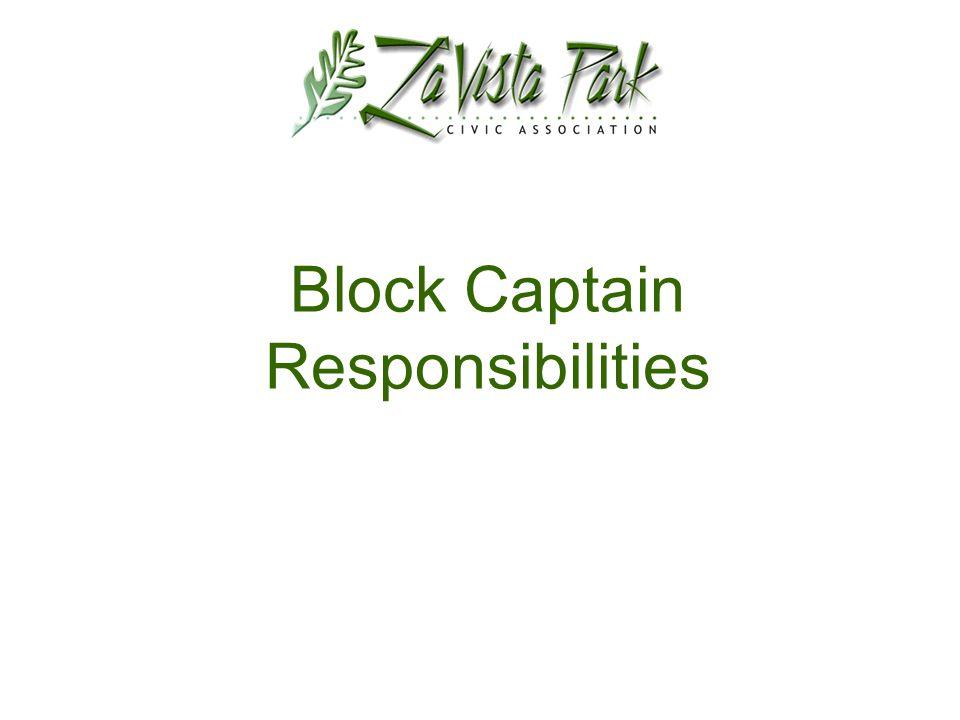 Block Captain Responsibilities