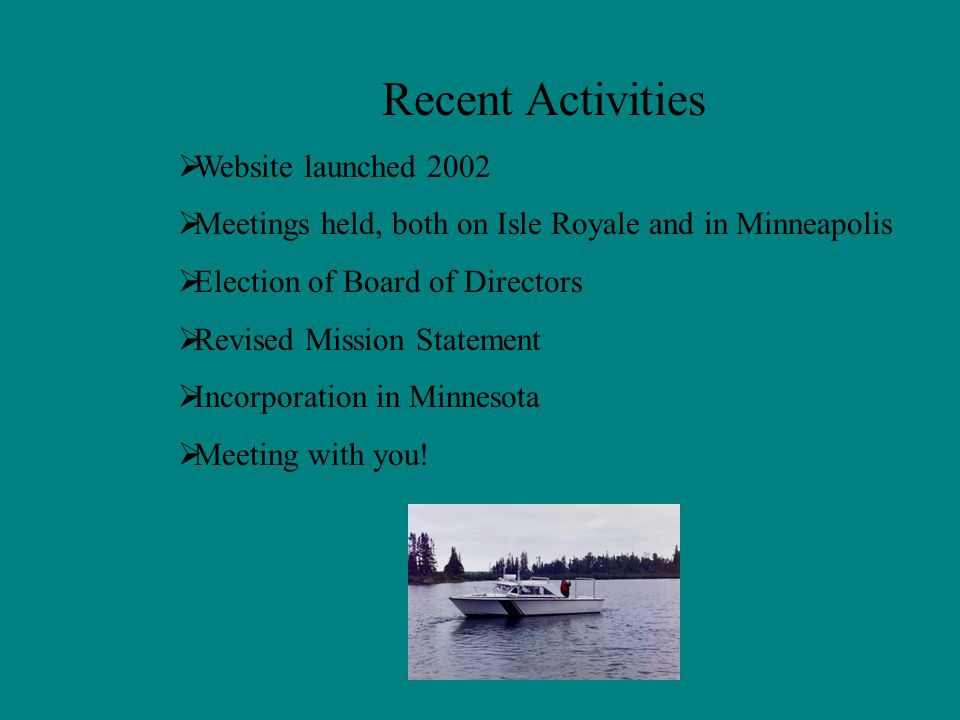 We Propose a Shift in the Paradigm In partnership with NPS, we will produce an interpretive program that can be given by designated, and trained original family members at Windigo and Rock Harbor on a scheduled basis.