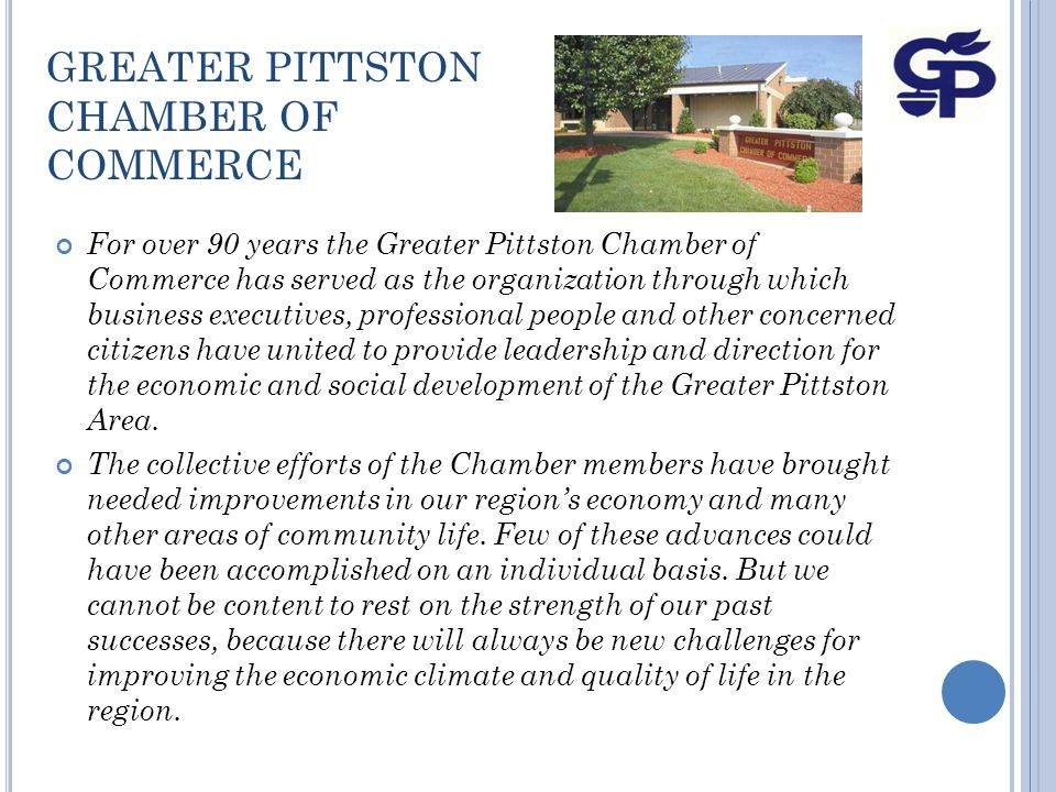 GREATER PITTSTON CHAMBER OF COMMERCE MEMBER INCENTIVES