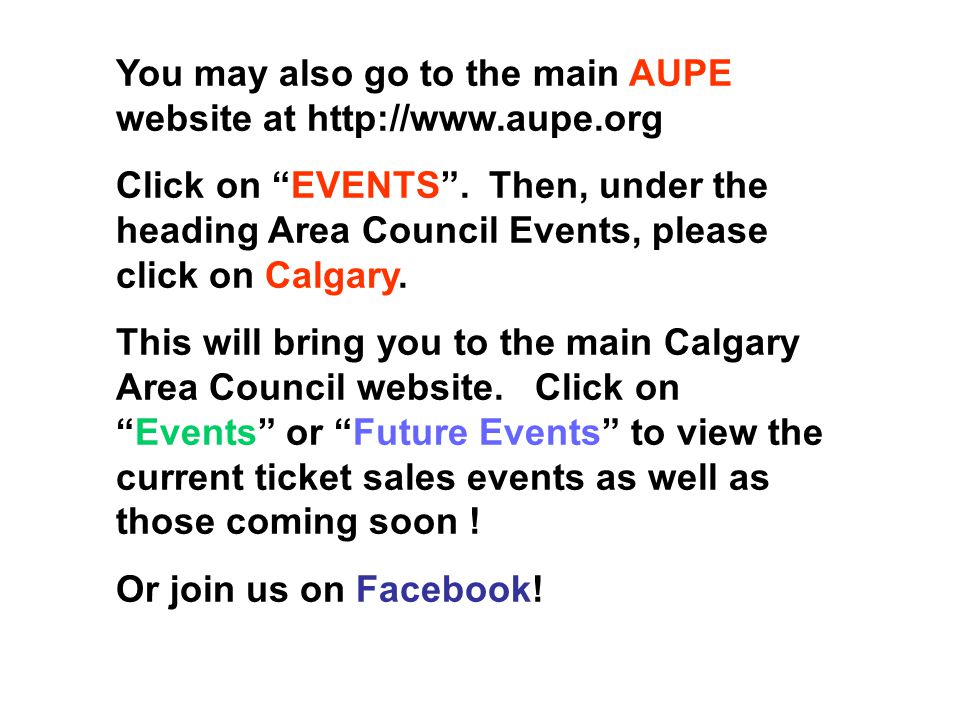 How to find the Calgary Area Council current listing of events and ticket sales …. Please visit our NEW main website at: http://calgaryareacouncil.web