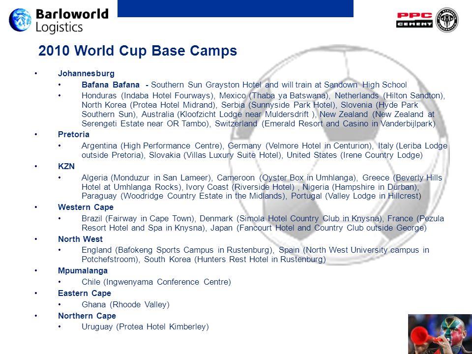 2010 World Cup Base Camps Johannesburg Bafana Bafana - Southern Sun Grayston Hotel and will train at Sandown High School Honduras (Indaba Hotel Fourwa
